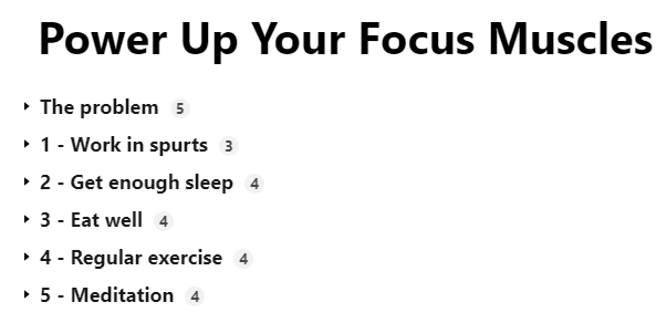 Outline of Power Up Focus Muscles